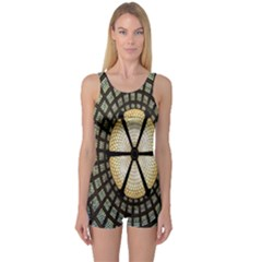 Stained Glass Colorful Glass One Piece Boyleg Swimsuit