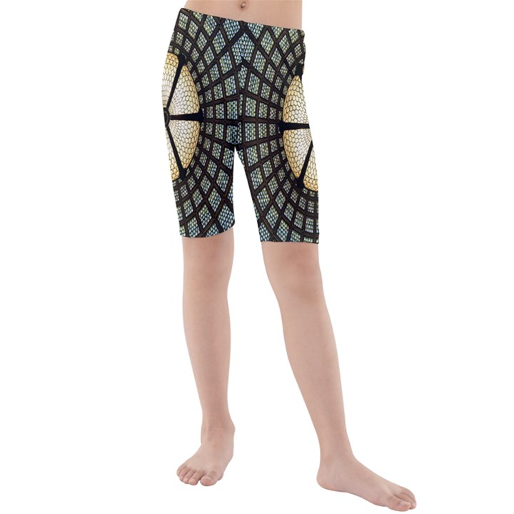 Stained Glass Colorful Glass Kids  Mid Length Swim Shorts
