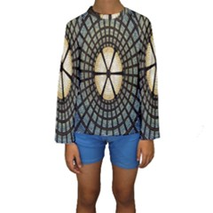 Stained Glass Colorful Glass Kids  Long Sleeve Swimwear
