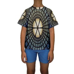 Stained Glass Colorful Glass Kids  Short Sleeve Swimwear