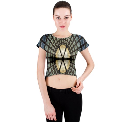 Stained Glass Colorful Glass Crew Neck Crop Top