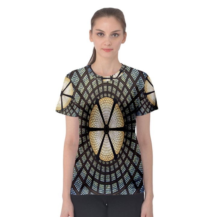 Stained Glass Colorful Glass Women s Sport Mesh Tee
