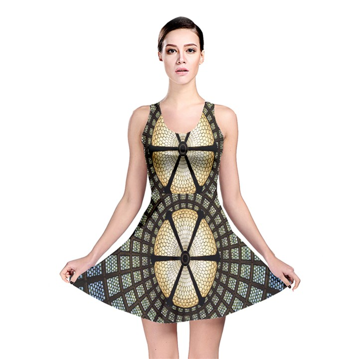 Stained Glass Colorful Glass Reversible Skater Dress