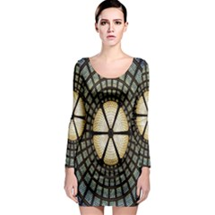 Stained Glass Colorful Glass Long Sleeve Bodycon Dress