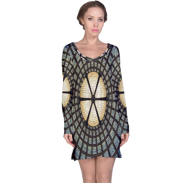Stained Glass Colorful Glass Long Sleeve Nightdress