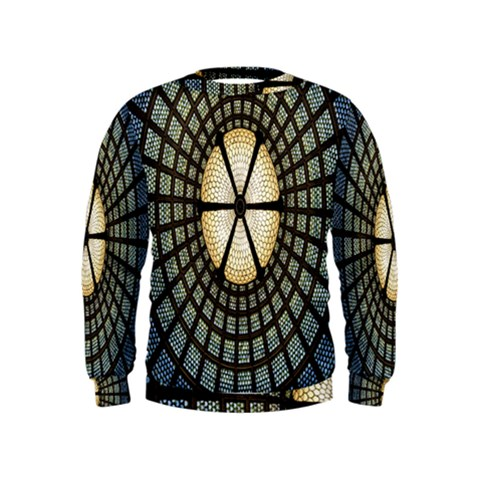 Stained Glass Colorful Glass Kids  Sweatshirt