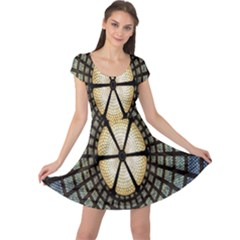 Stained Glass Colorful Glass Cap Sleeve Dresses