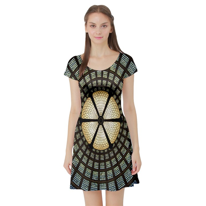 Stained Glass Colorful Glass Short Sleeve Skater Dress