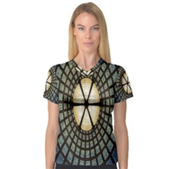 Stained Glass Colorful Glass Women s V-Neck Sport Mesh Tee