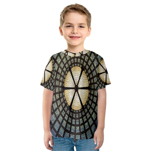 Stained Glass Colorful Glass Kids  Sport Mesh Tee