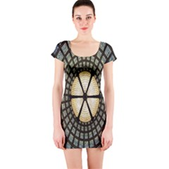Stained Glass Colorful Glass Short Sleeve Bodycon Dress