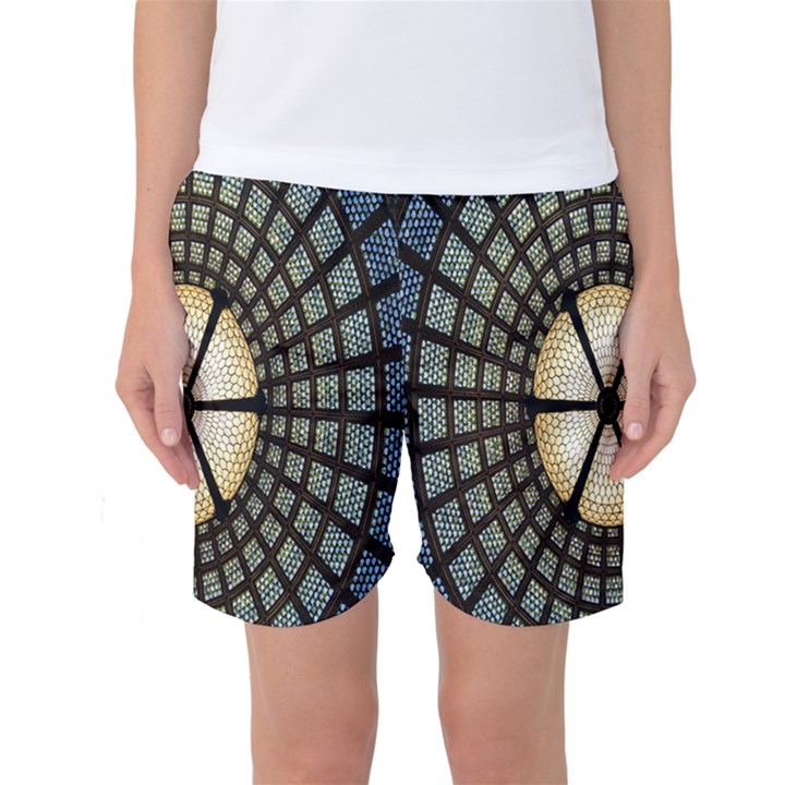 Stained Glass Colorful Glass Women s Basketball Shorts