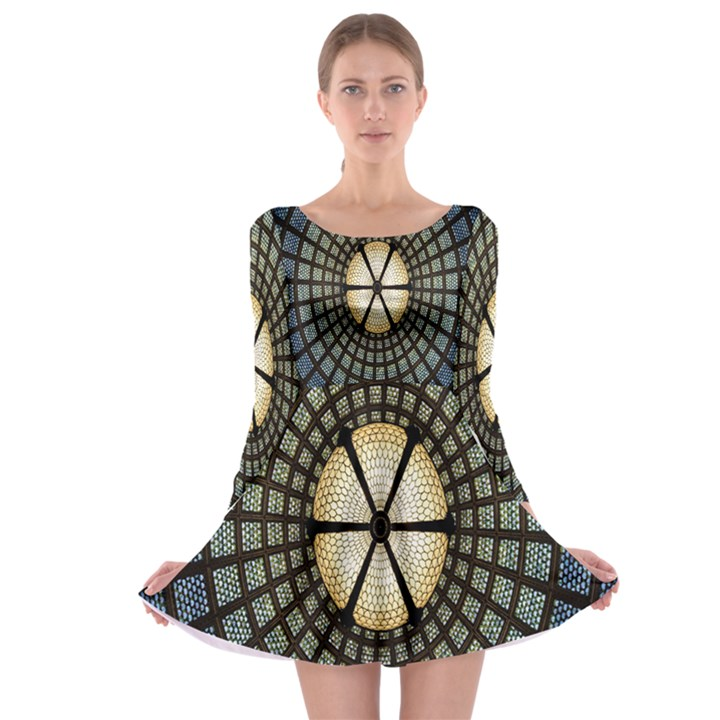 Stained Glass Colorful Glass Long Sleeve Skater Dress