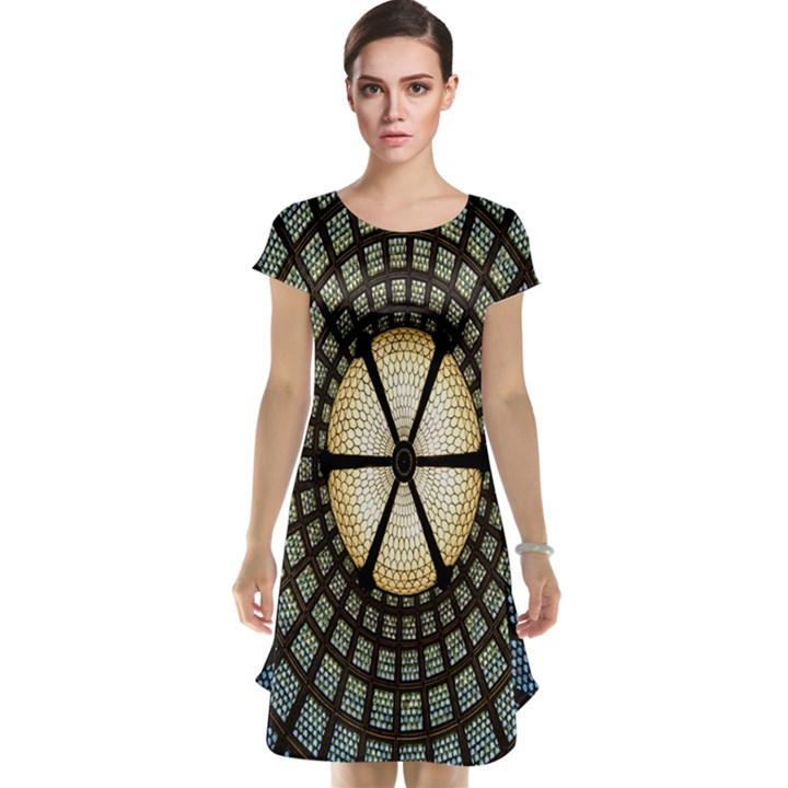 Stained Glass Colorful Glass Cap Sleeve Nightdress