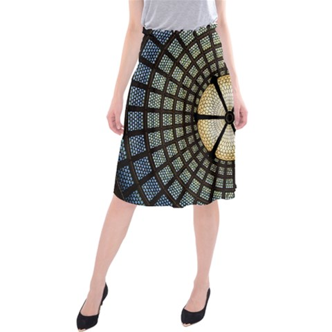 Stained Glass Colorful Glass Midi Beach Skirt