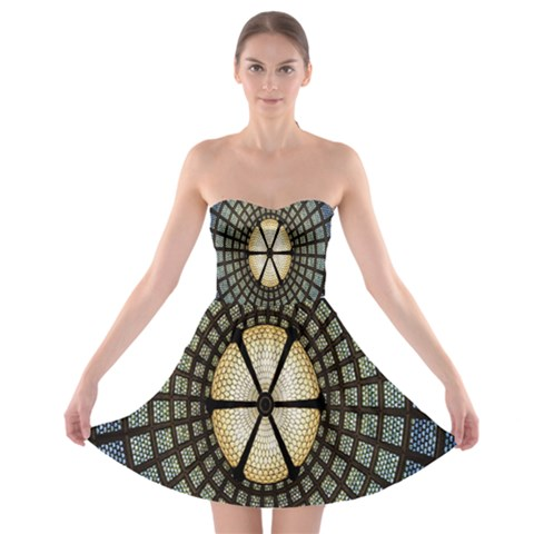 Stained Glass Colorful Glass Strapless Bra Top Dress