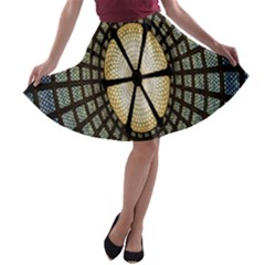Stained Glass Colorful Glass A-line Skater Skirt
