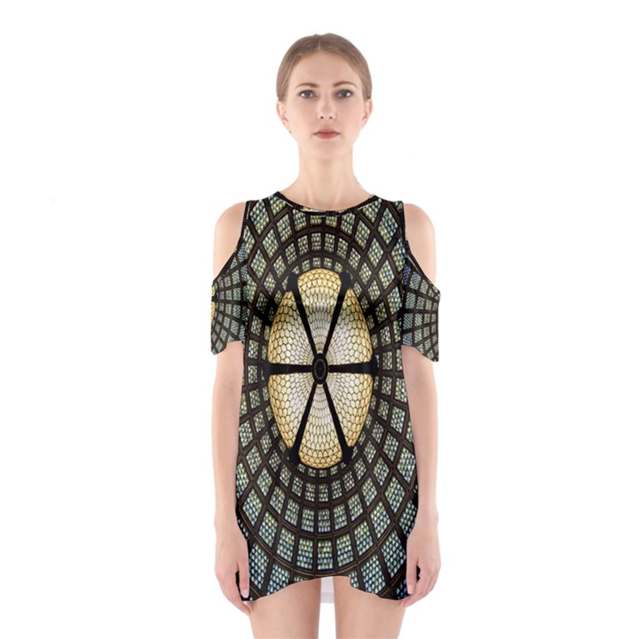 Stained Glass Colorful Glass Cutout Shoulder Dress