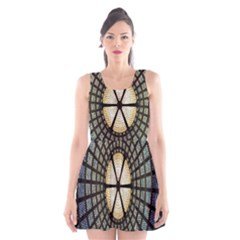 Stained Glass Colorful Glass Scoop Neck Skater Dress