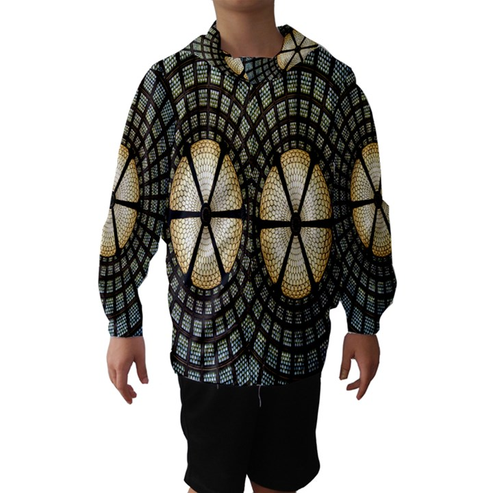 Stained Glass Colorful Glass Hooded Wind Breaker (Kids)
