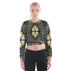Stained Glass Colorful Glass Women s Cropped Sweatshirt