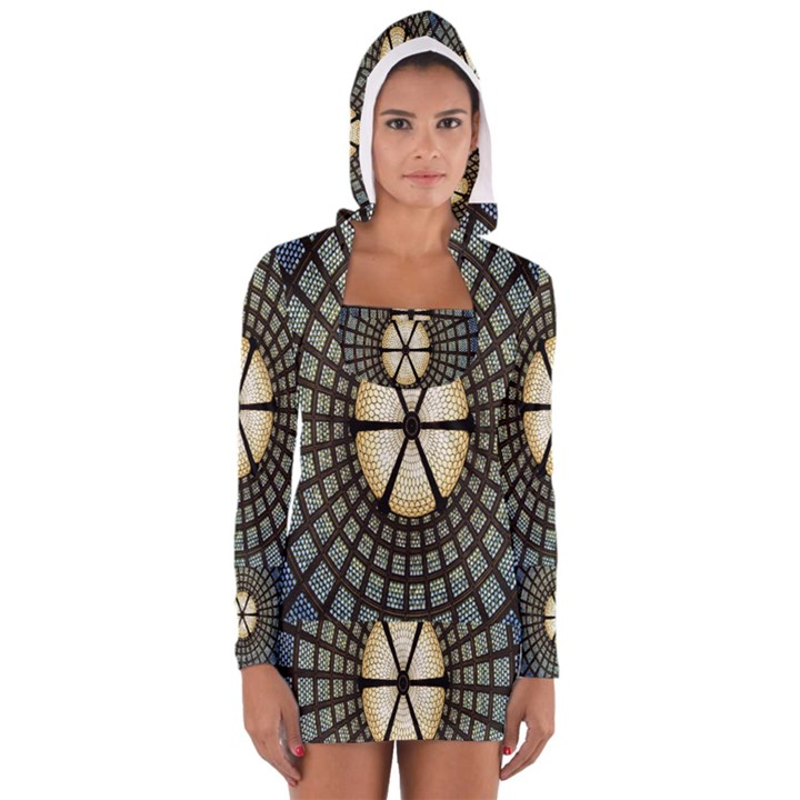 Stained Glass Colorful Glass Women s Long Sleeve Hooded T-shirt