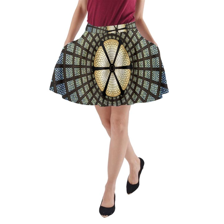 Stained Glass Colorful Glass A-Line Pocket Skirt