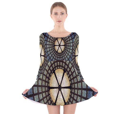 Stained Glass Colorful Glass Long Sleeve Velvet Skater Dress