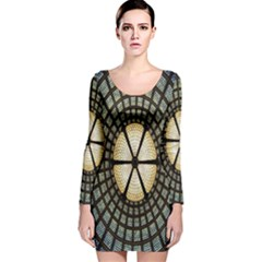Stained Glass Colorful Glass Long Sleeve Velvet Bodycon Dress