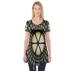 Stained Glass Colorful Glass Short Sleeve Tunic