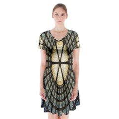 Stained Glass Colorful Glass Short Sleeve V-neck Flare Dress