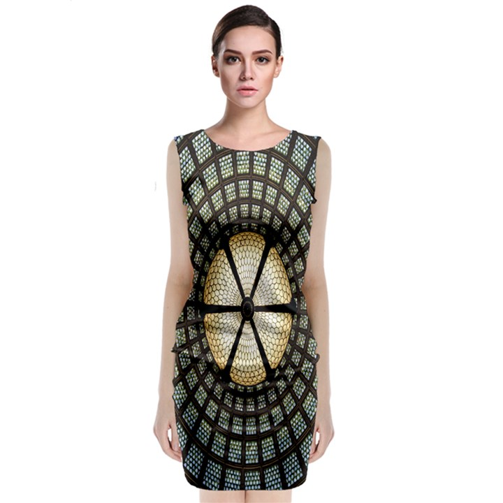Stained Glass Colorful Glass Classic Sleeveless Midi Dress