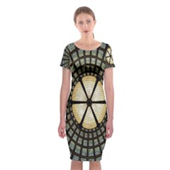 Stained Glass Colorful Glass Classic Short Sleeve Midi Dress