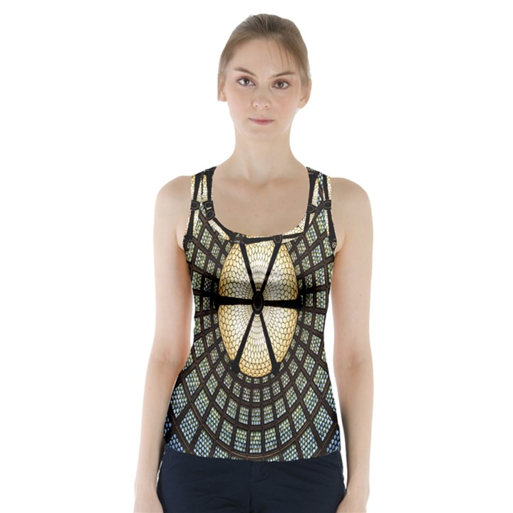 Stained Glass Colorful Glass Racer Back Sports Top