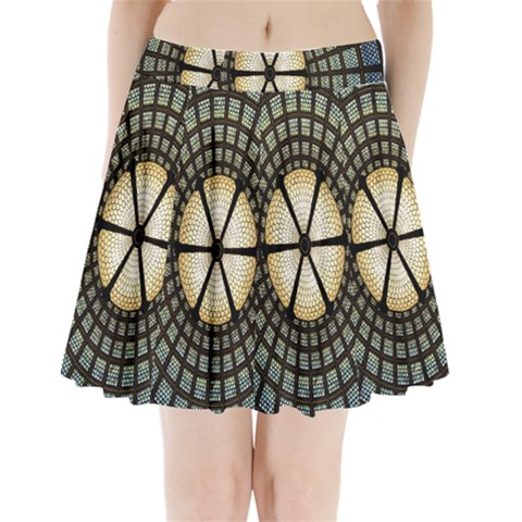 Stained Glass Colorful Glass Pleated Mini Skirt