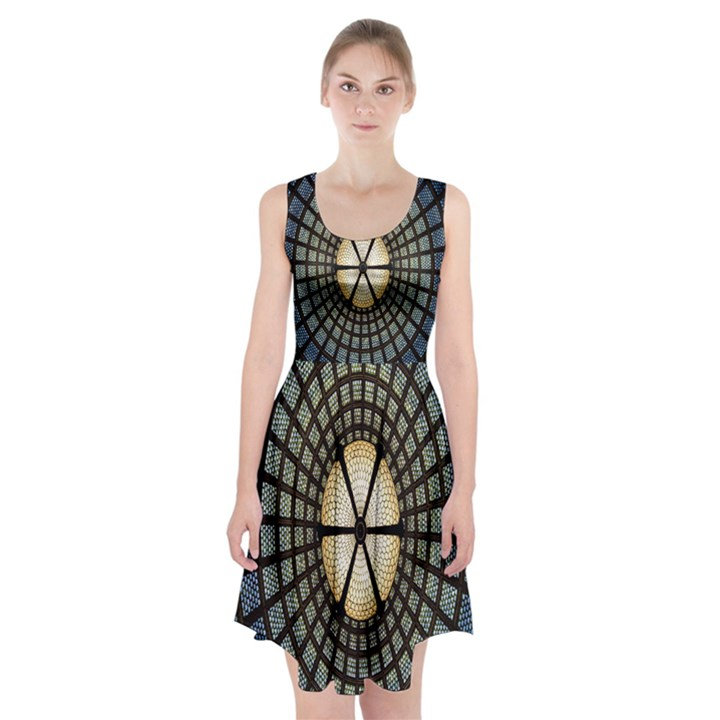 Stained Glass Colorful Glass Racerback Midi Dress