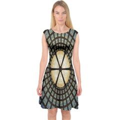 Stained Glass Colorful Glass Capsleeve Midi Dress