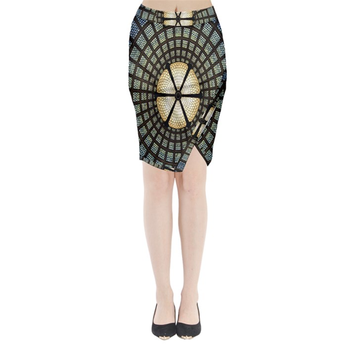 Stained Glass Colorful Glass Midi Wrap Pencil Skirt
