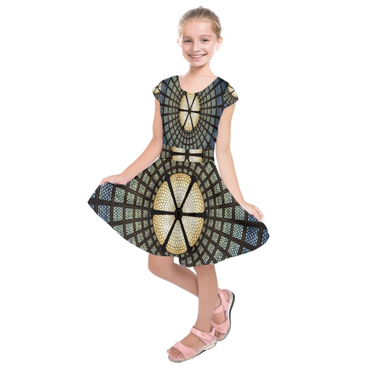 Stained Glass Colorful Glass Kids  Short Sleeve Dress
