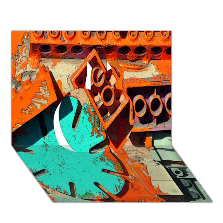 Sunburst Lego Graffiti Apple 3D Greeting Card (7x5)