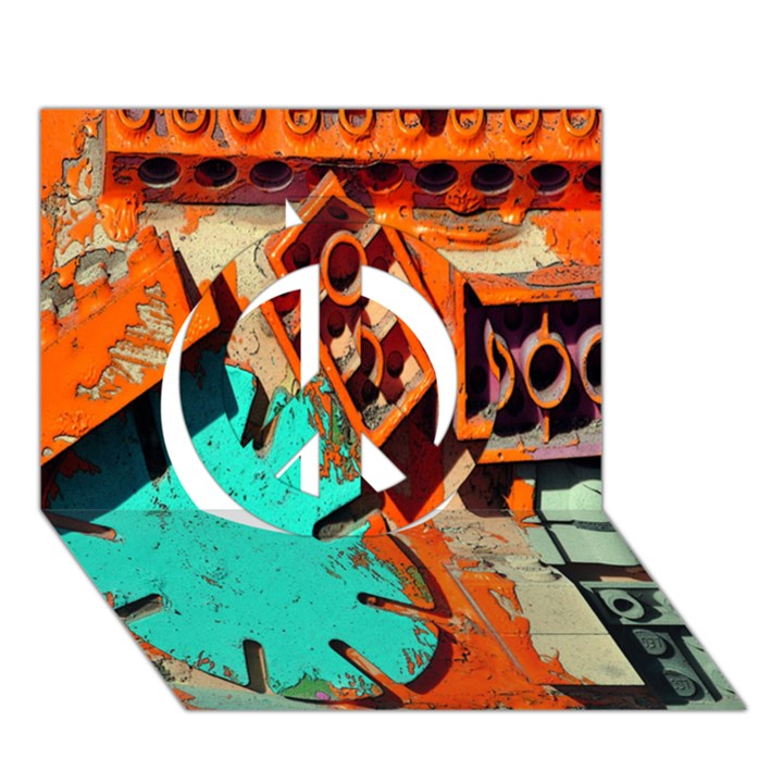 Sunburst Lego Graffiti Peace Sign 3D Greeting Card (7x5)