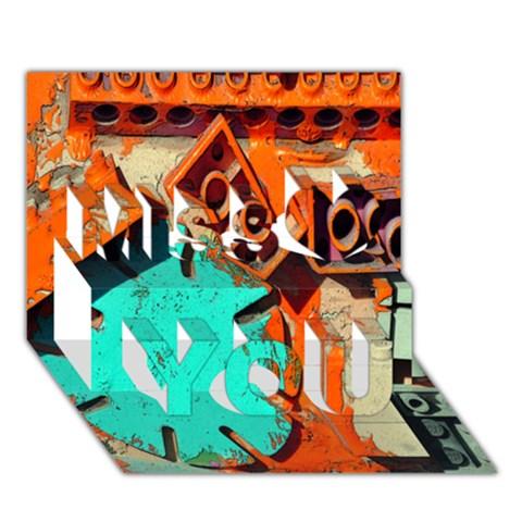 Sunburst Lego Graffiti Miss You 3D Greeting Card (7x5)