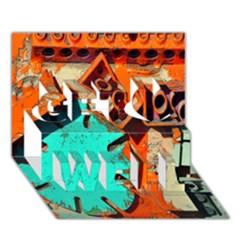 Sunburst Lego Graffiti Get Well 3D Greeting Card (7x5)
