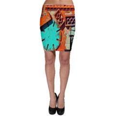 Sunburst Lego Graffiti Bodycon Skirt