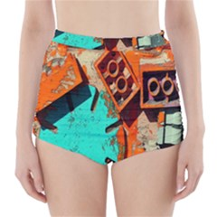 Sunburst Lego Graffiti High-Waisted Bikini Bottoms