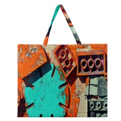 Sunburst Lego Graffiti Zipper Large Tote Bag