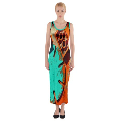 Sunburst Lego Graffiti Fitted Maxi Dress