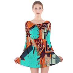 Sunburst Lego Graffiti Long Sleeve Velvet Skater Dress