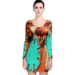 Sunburst Lego Graffiti Long Sleeve Velvet Bodycon Dress