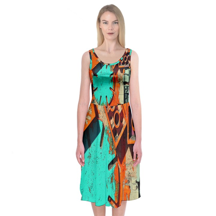 Sunburst Lego Graffiti Midi Sleeveless Dress
